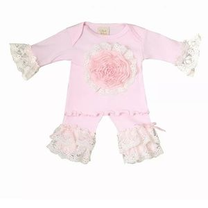 Haute baby pink lullaby pants outfit sz 0/3 months